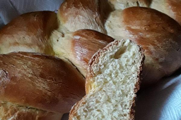 Braided Egg Bread Sliced to show inside